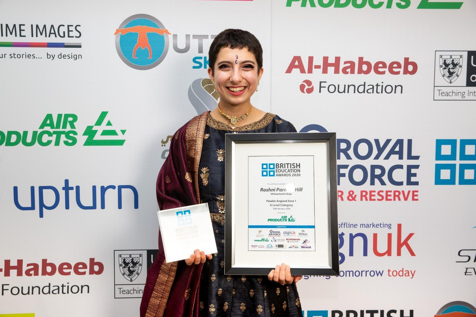 Roshni Parmar-Hill announced the winner at the British Education Awards
