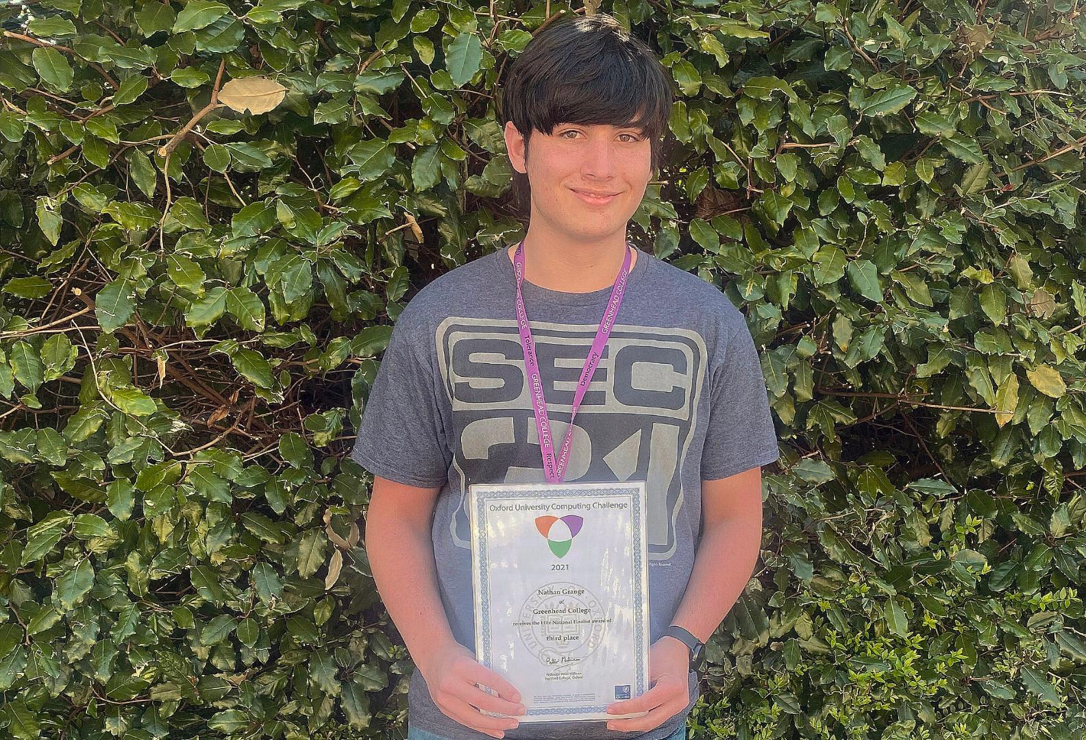 A1 student Nathan celebrates 3rd place in the national Oxford Computing Competition