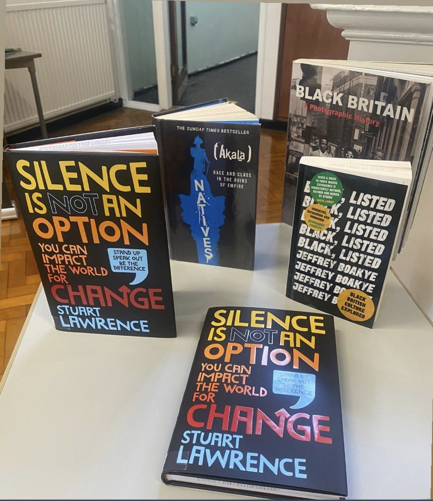 Display of books for Stephen Lawrence Day